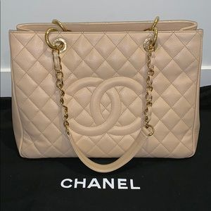 Chanel GST Beige Caviar Leather with Gold Hardware